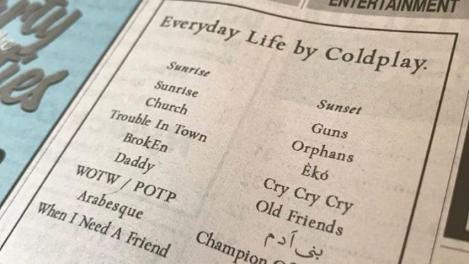 Coldplay sneaks ads in local papers to promote new album