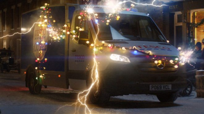 Tesco's Christmas ad stars a time-travelling delivery van