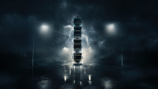 Volvo builds a four-truck tower for epic ad