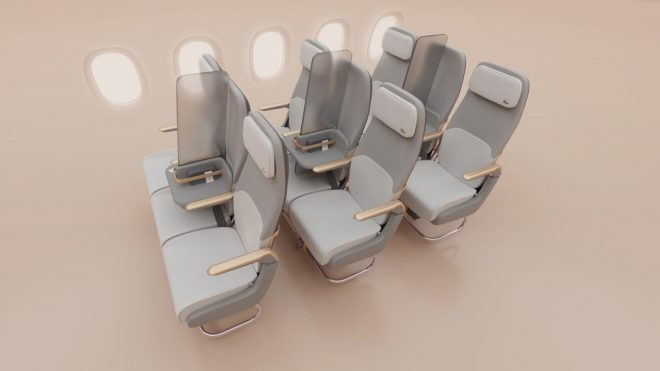 Designers turn an airplane's middle seat into a COVID-19 sneeze guard