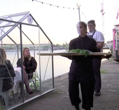Dutch Restaurant's Social Distancing Techniques: Individual Dining Greenhouses, Food Served on Long Planks - Core77