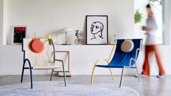 Kaoi studio designs modular Ebba chairs based on Ettore Sottsass' Memphis movement