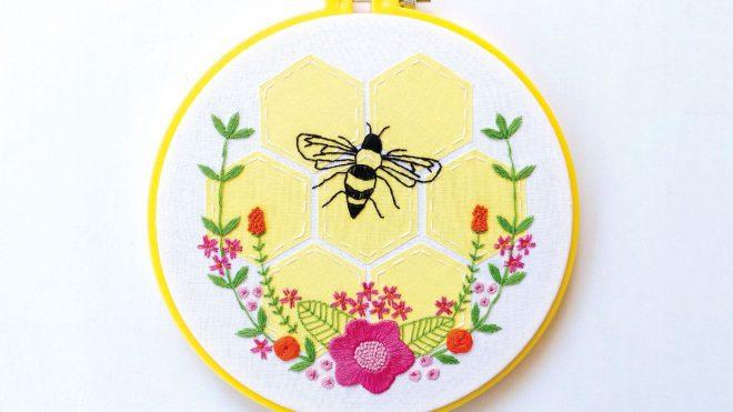 Bzzzzz Stitch up a bee embroidery pattern