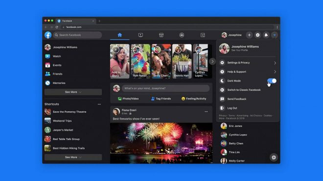 How to enable dark mode on Facebook's redesigned website