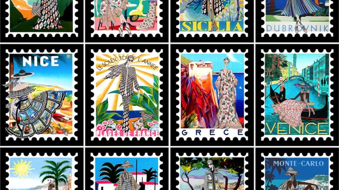 Mary Katrantzou's new campaign is an ode to vintage-style stamps