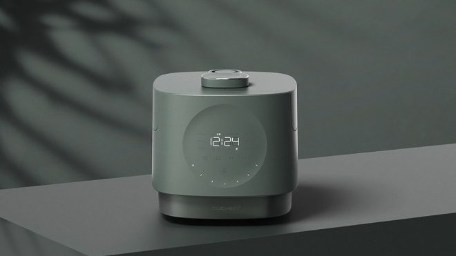 This modern Korean rice cooker's touch control panel is also a clock