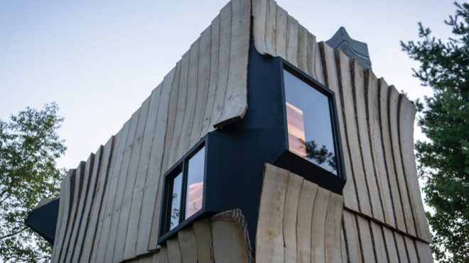 Ashen Cabin Is Constructed From 3D Printed Concrete and Waste Wood Materials - Architizer Journal