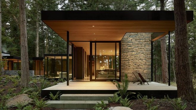 A glass 'farmhouse' rises on a woodsy island