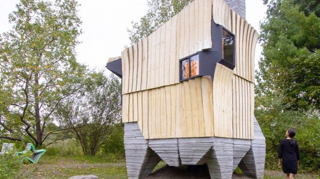 Architects turn waste wood into a 3D-printed cabin in upstate New York