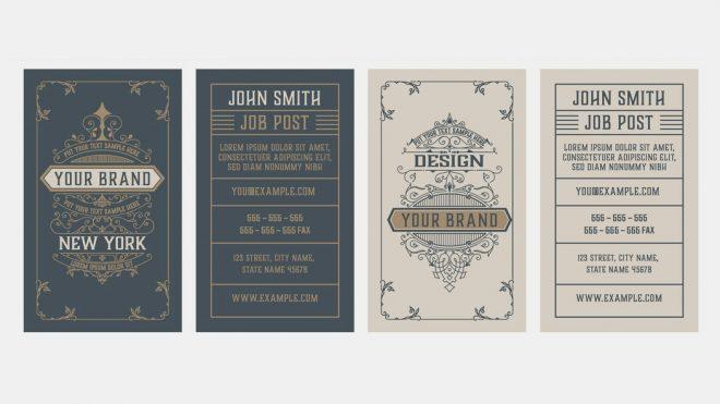 Vintage Business Card Design Templates for Adobe Illustrator