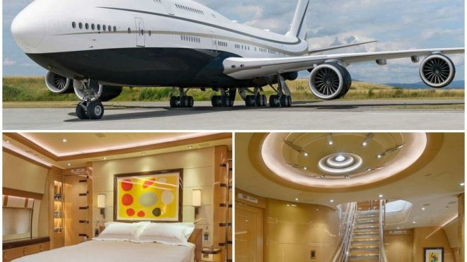 From lounges to dining areas to a spacious master bedroom and even a walk in shower - Take a look inside this Middle Eastern businessman's very own private Boeing 747 Jumbo jet : Luxurylaunches