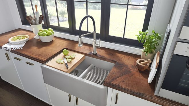 Bring Farmhouse and Industrial Aesthetics Together with the Help of BLANCO's Farmhouse Sinks - Design Milk