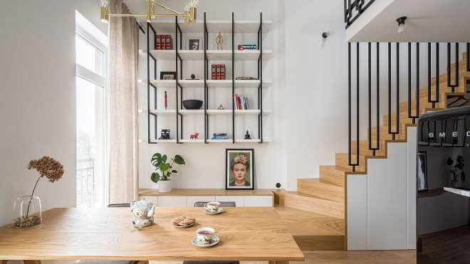 Small 52 Sqm Apartment in Poland with a Space-Saving Mezzanine Living Space